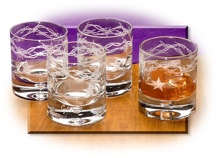 Stars & Barbed Wire Crystal Glasses