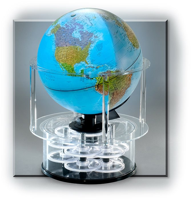 LIGHT UP GLOBE - ROTATING WITH CLOCK AND CALENDAR - 12-5/8 X 17-1/4 - 120V AC ADAPTOR INCLUDED - DET