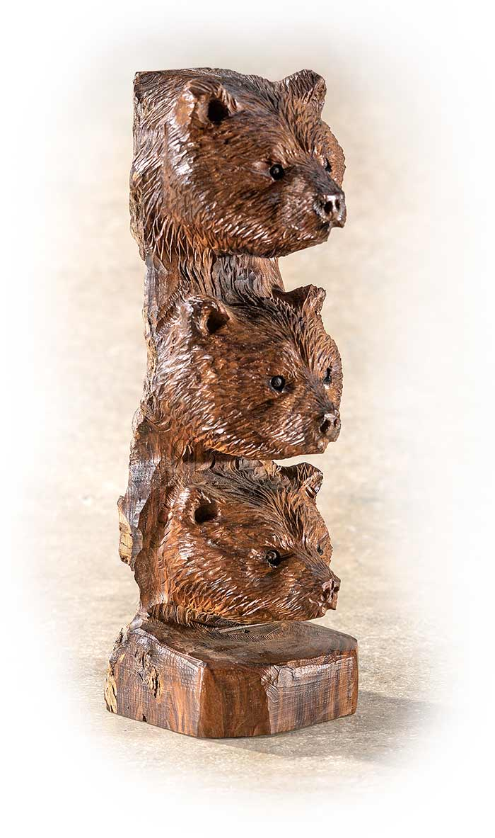 GRIZZLY BEARS TOTEM - DESERT IRONWOOD - HAND CARVED - UNFINISHED BACKSIDE