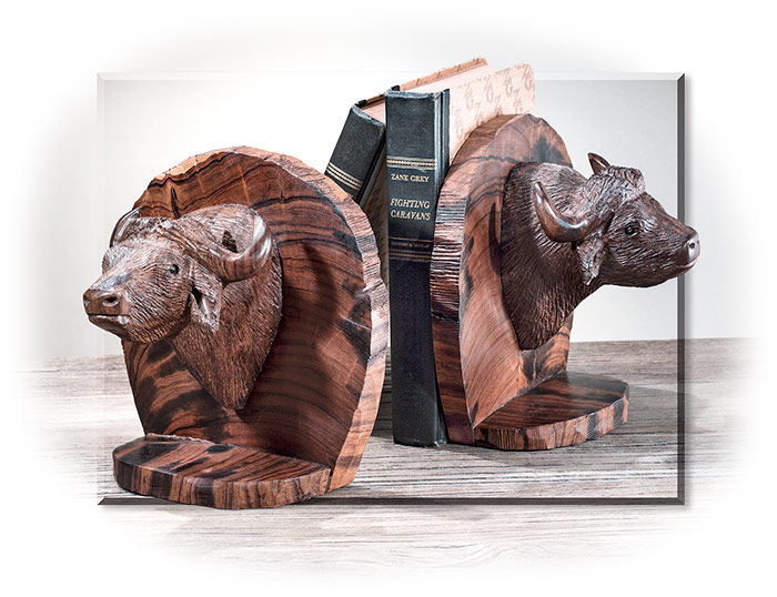 Desert Ironwood Cape Buffalo Bookends