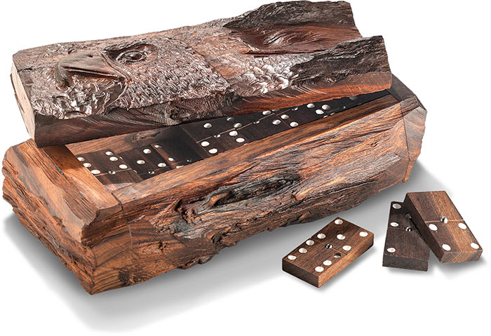 Rustic Desert Ironwood Dominos - Eagle on box and dominos are handcarved and hand polished