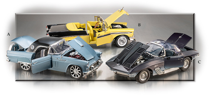 Diecast model cars:1956 Thunderbird on left,1956 Chevy Bel Air Convertible, 1961 Corvette Mako Shark