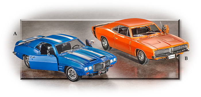 1969 Pontiac Trans Am & Dodge Charger die-cast Model Cars 1:18 scale - doors and hood opens