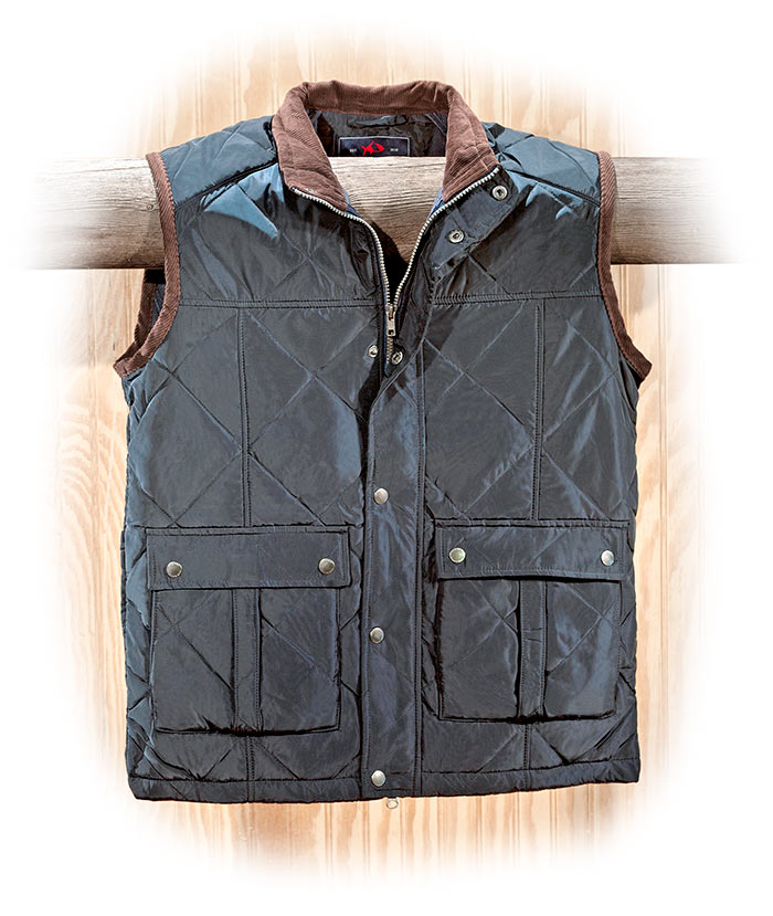 Water Resistant Quilted Navy Polyester Vest with corduroy lined collar and arm openings
