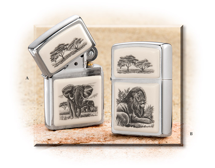 Elephant & Lion Scrimed Zippo Lighters