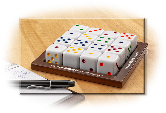 DOTZEE GAME - DICE GAME - 2 TO 6 PLAYERS - SIXTEEN DIE WITH WOOD GAME TRAY - INSTRUCTIONS INCLUDED