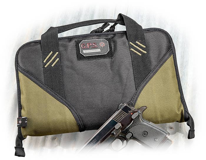 black and OD green large single handgun case with 6 magazine slots