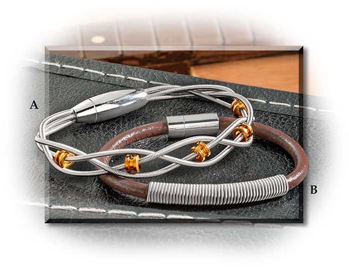 Recycled Bass & Guitar String Bracelets with leather or brass for guys