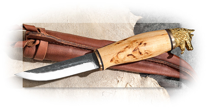 Traditional Finnish Fixed Blade – Wolf's Head Pommel