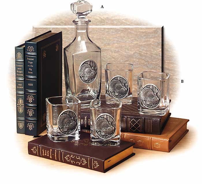Set of Four 9 oz. Glasses with Wild Turkey Medallion