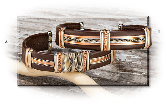 Leather Wrapped Bracelet - Men's Masculine and rugged jewelry.