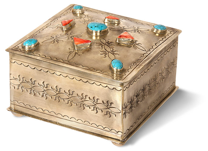 Southwestern style handmade rustic nickel silver box with turquoise stones. Black felt lining