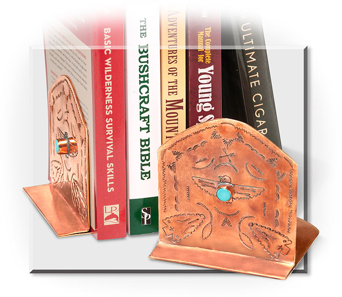 STAMPED COPPER BOOKENDS - SET OF 2 - COPPER - STAMPLED WITH THUNDERBIRD W/TURQUOISE INLAY / ARROWS