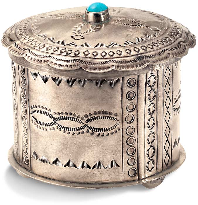 Round Nickel Silver Trinket Box