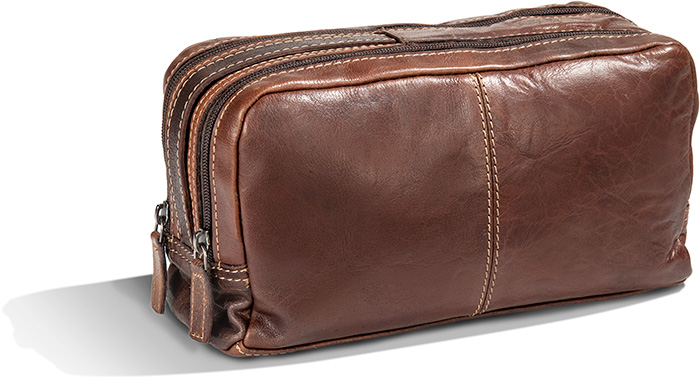 Double Zippered Vegetale Tanned Buffalo Leather Travel Dopp Kit