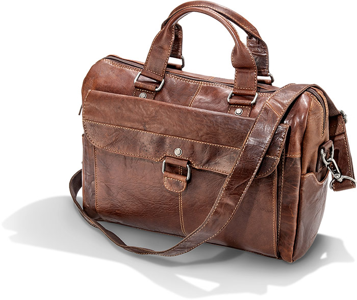 Vegetable Tanned Buffalo Leather Briefcase