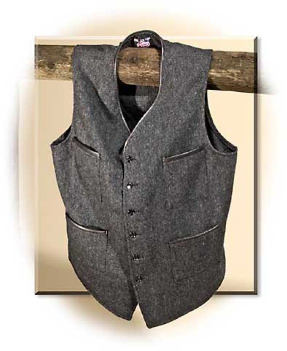 Wool Vest with Leather Trim - Small
