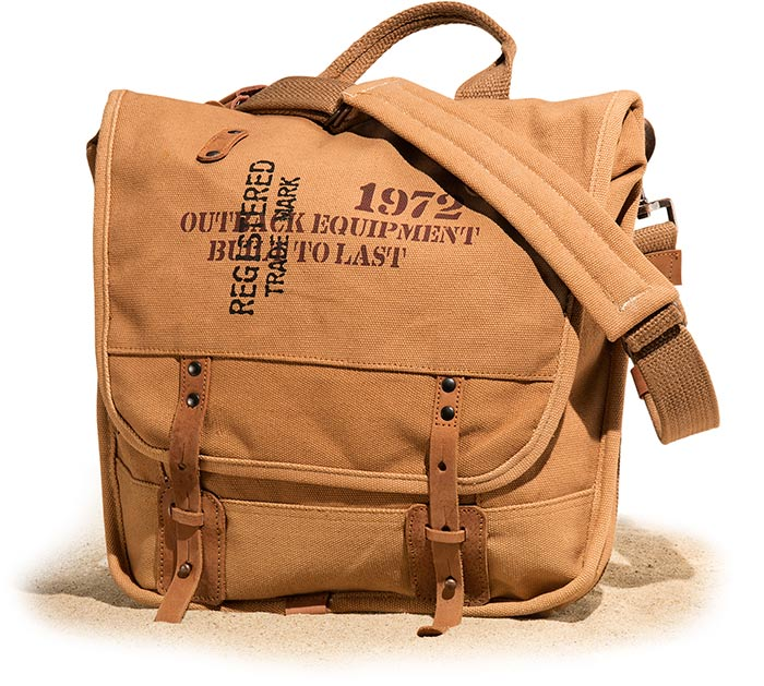 Rhino Canvas bag with shoulder strap, padded compartment for laptop, and built in organizer.