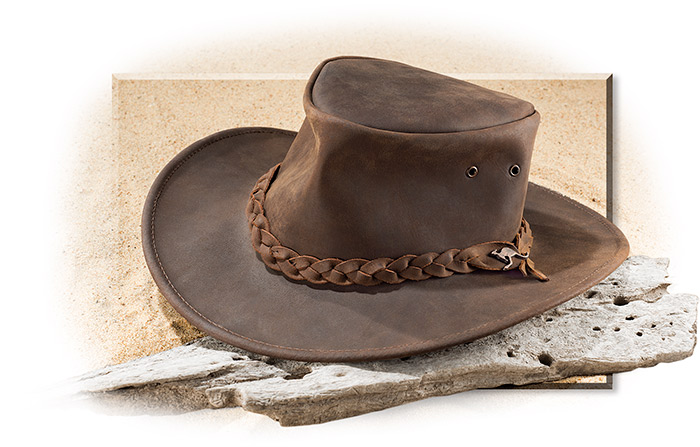 Rugged Australian Style Leather Hat Medium 7-1/8