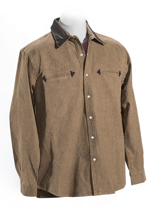 Men's western style pearl snap shirt tobacco color leather trim