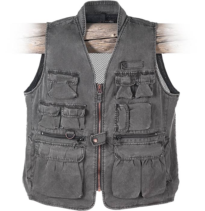 MESH BACK Multi-Pocket Canvas Vest - dark gravel gray. 11 pockets, great for fishing and hiking