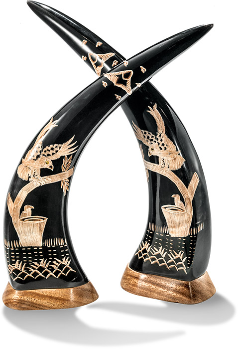 Carved Eagle on Buffalo Horn