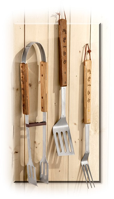 3-PC BBQ SET - SPATULA-TONGS-FORK - FRUIT WOOD HANDLE - STAINLESS