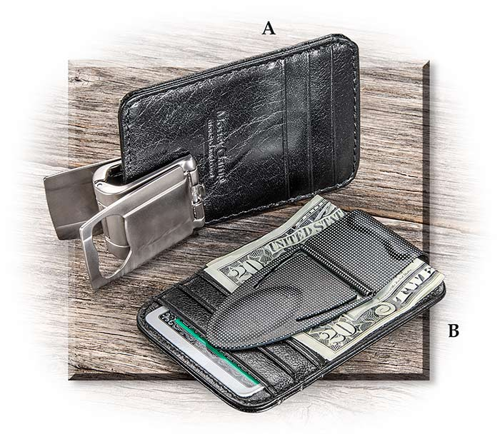 Money clip clamp with leather RFID blocking thin card protector wallet