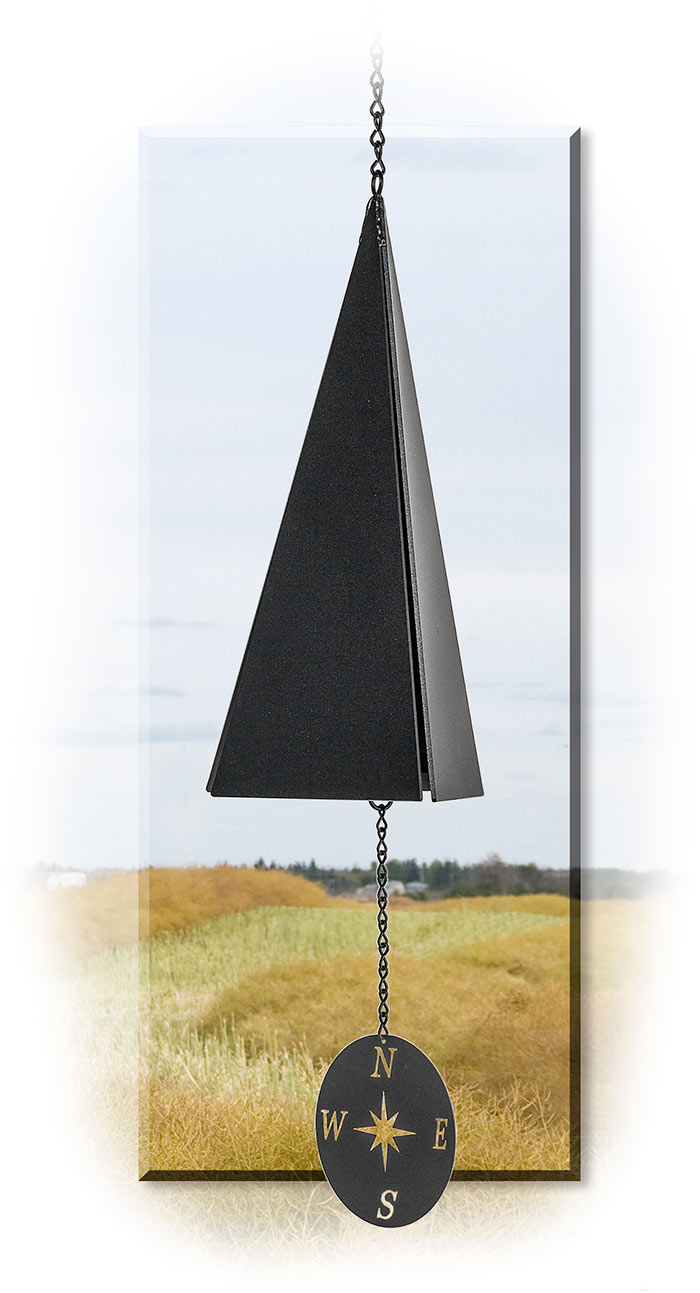 OUTER BANKS WIND BELL - COMPASS ROSE WIND CATCHER - BLACK POWDER COATED RECYCLED STEEL
