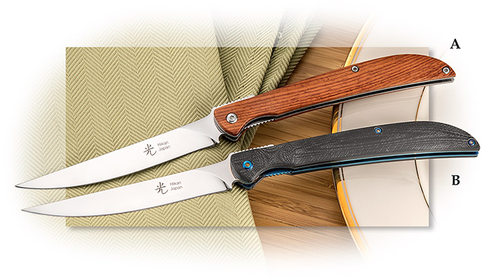 Folding Japanese Steak Knife - Liner Lock, Cocobolo or Black G-10 handles, D2 Tool Steel Blade