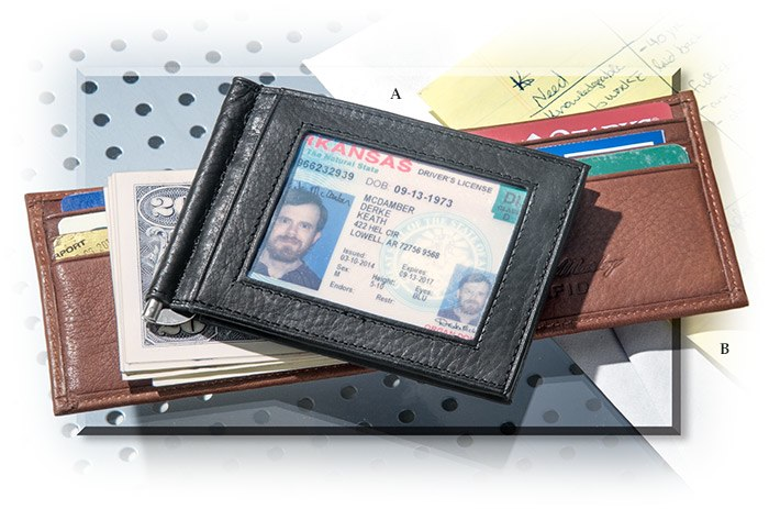 Very thin, RFID Blocking genuine leather money clip wallet for men