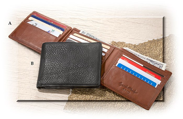 RFID BLOCKING FLIPPER WALLET - BRANDY CASHMERE LEATHER - HOLDS 12 CARD - 4 1/2 X 3 3/4 X 1/2