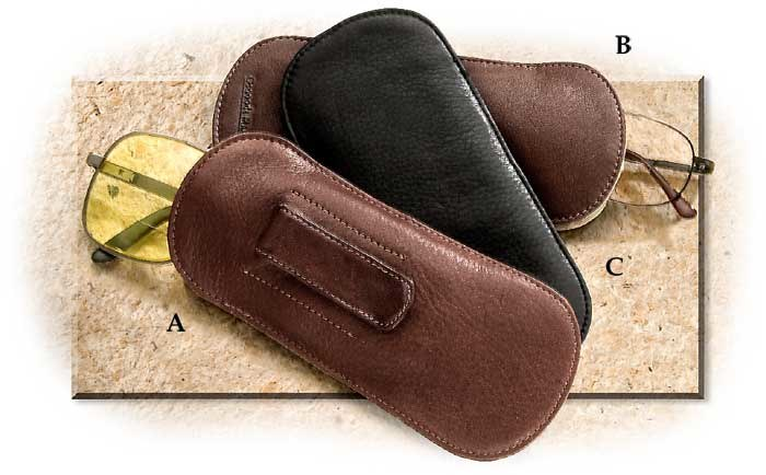 Cashmere Leather Glasses Case Brandy with Clip