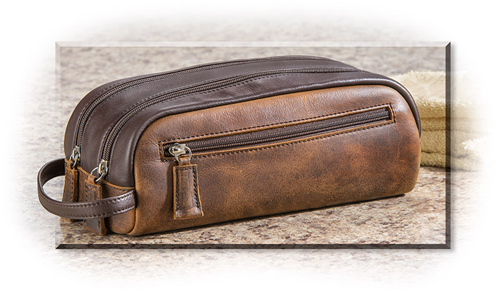 Distressed Cowhide Dopp Kit
