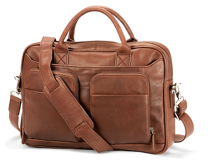 Double Pocket Leather Briefcase with RFID protection