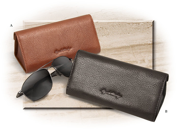 Cashmere Leather Hard-Sided Eyeglass Case brandy