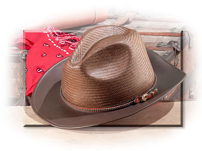 LEATHER & STRAW HAT - TOBACCO BROWN SHAPEABLE LEATHER BRIM - SWEATBAND