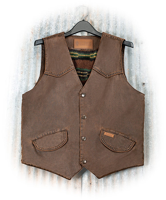 WESTERN STYLE MONTANA VEST - Dark BROWN WATER RESISTANT FABRIC - POLAR FLEECE LINING - Snap Buttons