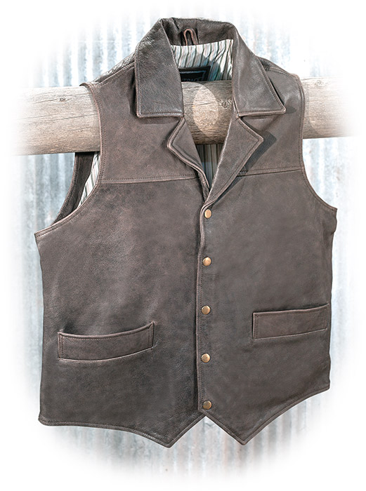 Genuine rugged leather lapel vest with two welted hip pockets and inside left chest pocket.