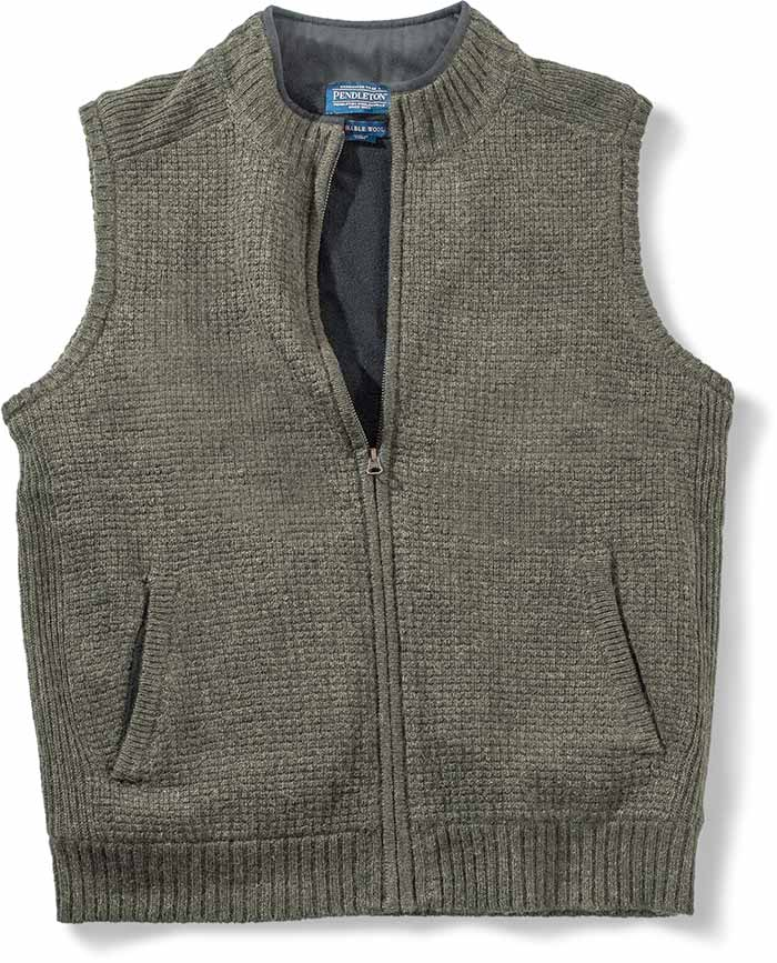 PENDLETON SHETLAND WOOL VEST - ARMY GREEN - SMALL - BLACK FLEECE LINING