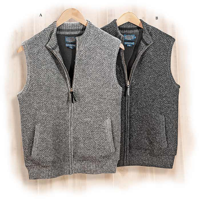 Pendleton Shetland Wool Full Zip Vest Gray