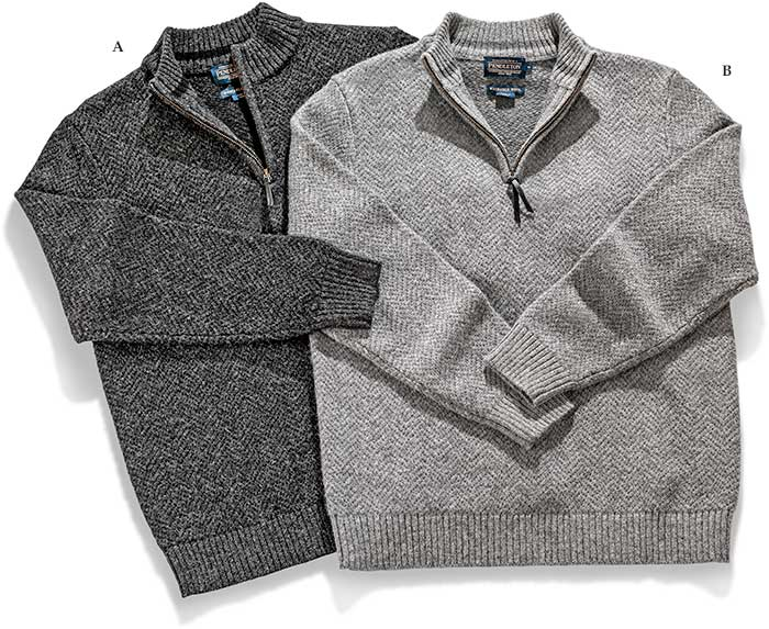 PENDLETON SHETLAND WOOL 1/4 ZIP Pull over SWEATER BLACK HEATHER MOCK NECK . LEATHER ZIPPER PULL