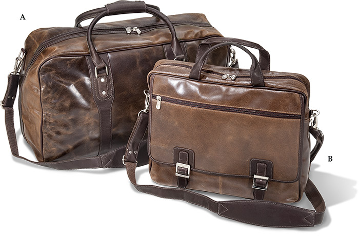 "21"" Vaquetta Leather Zip Down Duffel"