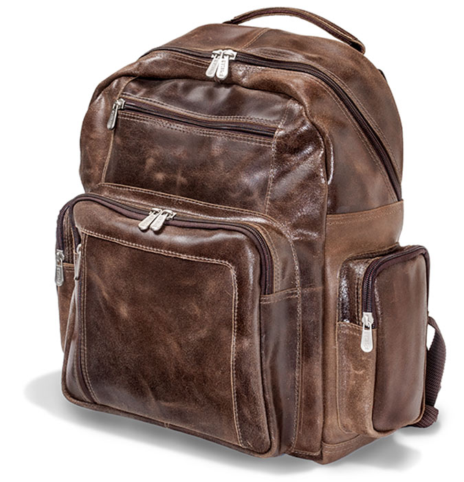 mens rich brown sof pliable full grain cowhide leather travel backpack