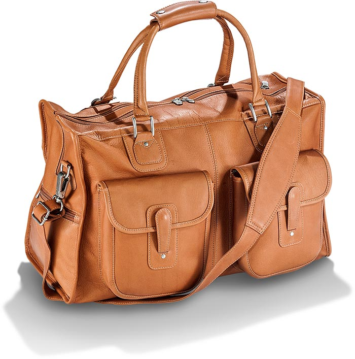 Saddle Brown Cowhide Leather Duffel