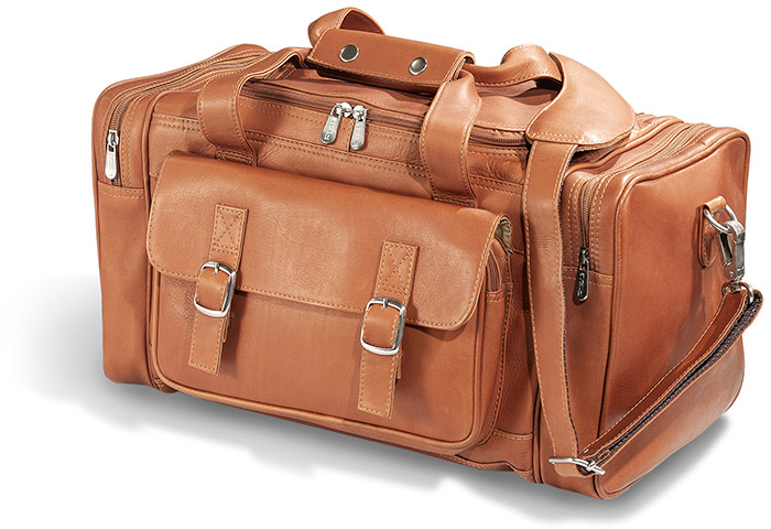 Saddle Brown Leather Duffel Traveling Bag - made of soft, supple full grain cowhide leather.