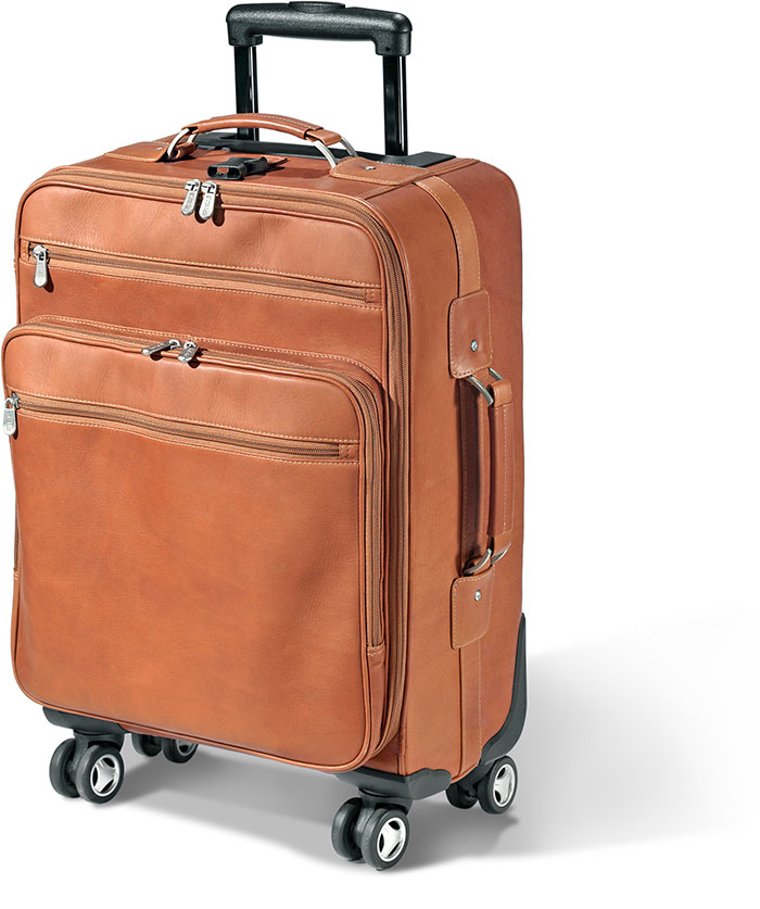 WHEELED LEATHER OVERNIGHTER TSA Approved Carry On - SADDLE BROWN - FULL GRAIN 100% COWHIDE LEATHER