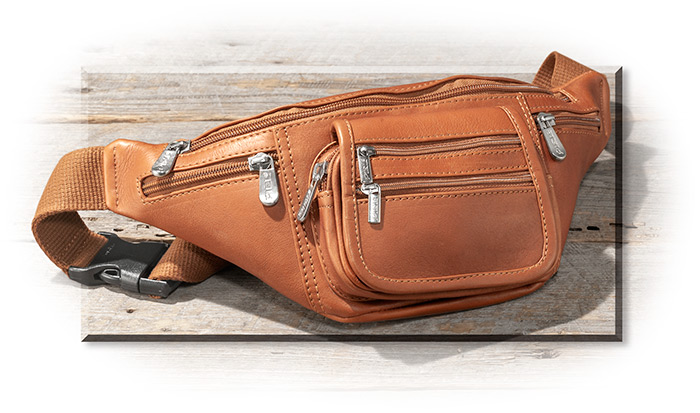 LEATHER WAIST POUCH - SADDLE BROWN LEATHER