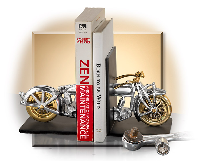 Vintage Motorcycle Bookends