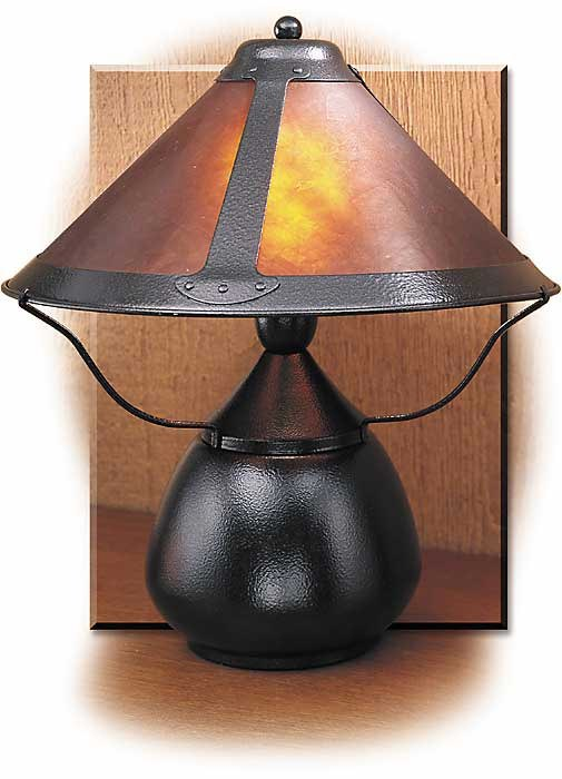 Arts & Crafts Style Lamp with Mica Shade